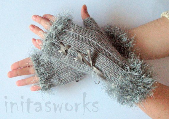 Fingerless Gloves Light Gray Corset Arm Warmers by Initasworks, $36.00