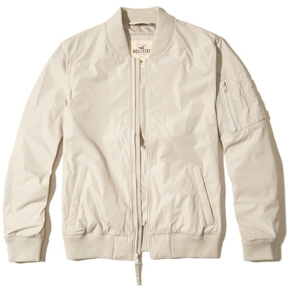 Hollister Nylon Bomber Jacket ($60) ❤ liked on Polyvore featuring men's fashion, men's clothing, men's outerwear, men's jackets, cream, mens nylon jacket, mens nylon bomber jacket, men's thermoball full zip jacket and mens utility jacket