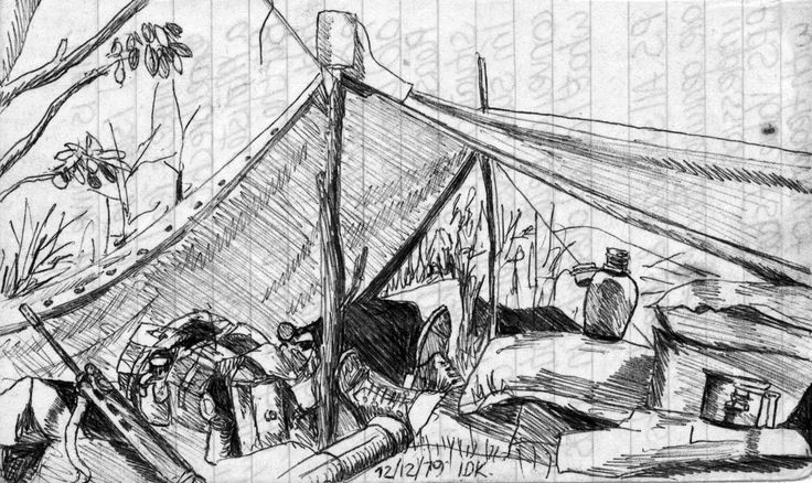 Sketch on a piece of exercise paper. December 1979 on some hill SADF used as an artillery OP a few kilos from Ruacana across on the Angolan side. (Would love to know where this is on Google maps - anyone know?) We went across to this at least ten times in my stint at Ruacana. Artillery in Ruacana were still 5.5's at this stage.