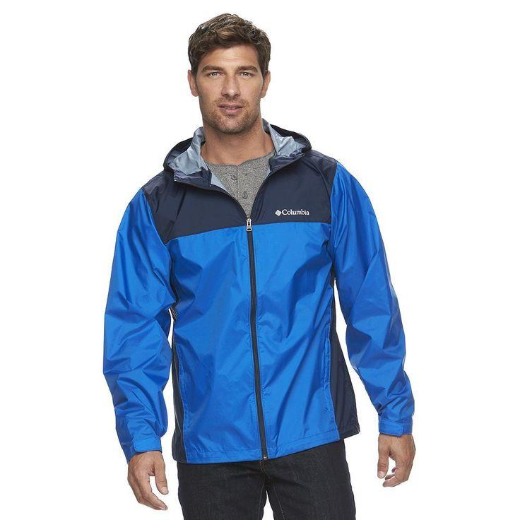Men's Columbia Weather Drain Rain Jacket, Size: Medium, Brt Blue