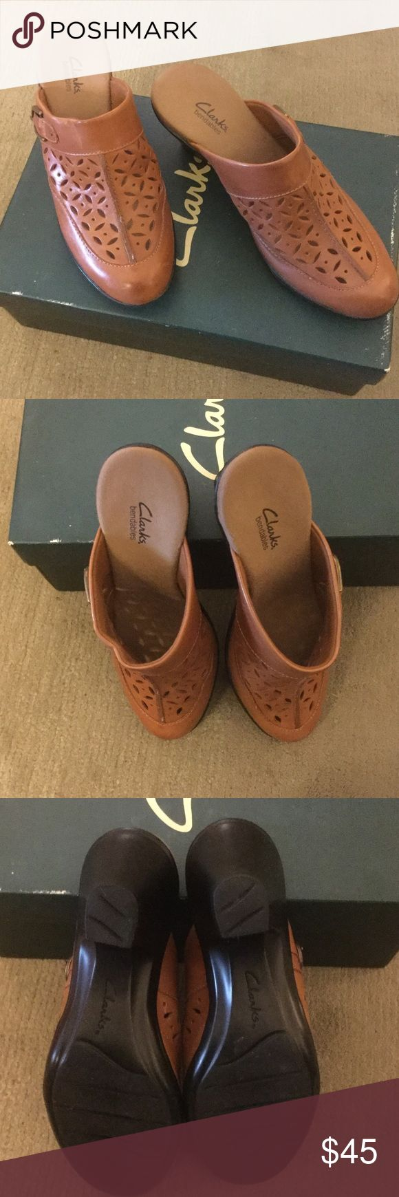 """Clarks Mule/Clog shoes - NWOT Great shoes!!!  Leather, perforated upper...heel is approximately 2 1/2"""" (molded in).  Never used!  Tannish-brown Clarks Shoes Mules & Clogs"""