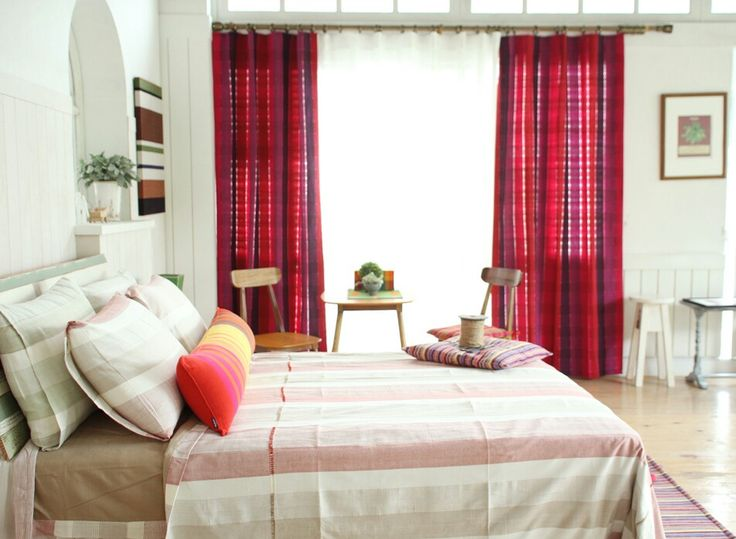 Red- handwoven bed spread and curtain by origo korea