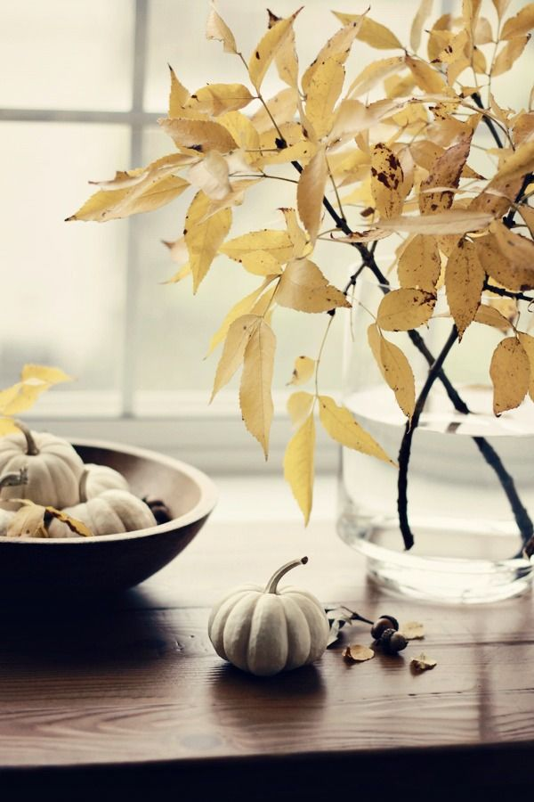 White Mini Pumpkins in Bowl and on Table, Dried Leaf Branches in Clear Vase.