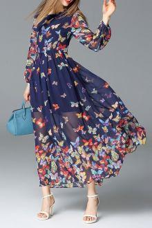 Butterfly Print Long Sleeve Dress
