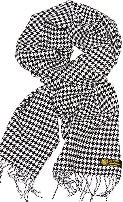 100% Cashmere Scarf (Black & White Hounds-tooth)