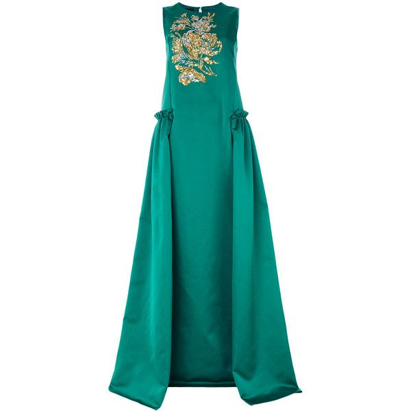 Rochas sequined gown ($1,775) ❤ liked on Polyvore featuring dresses, gowns, green, sequin evening gowns, blue green dress, green sequin dress, sequin ball gown and green evening dress