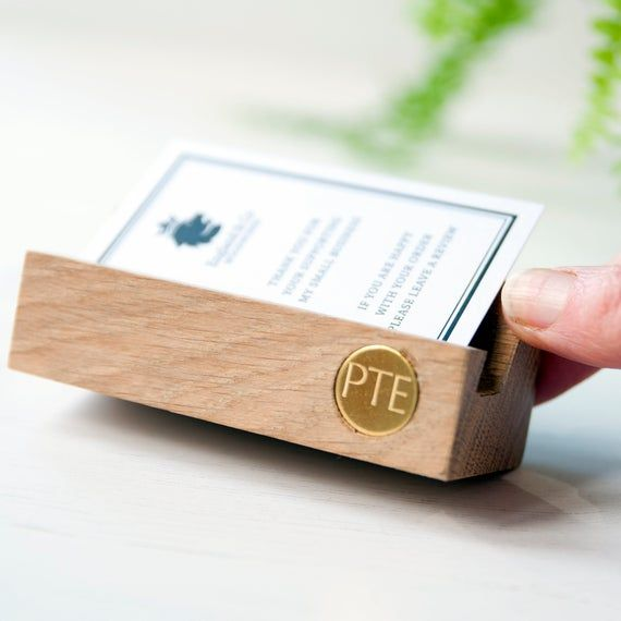 Personalised Business Card Holder Wooden Card Holder Desk Etsy Wood Business Cards Personalized Business Card Holder Wooden Cards