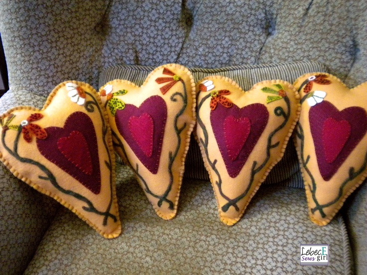 Wool Heart pillows