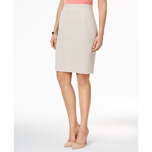 Tommy Hilfiger Classic Pencil Skirt ($40) ❤ liked on Polyvore featuring skirts, latte, white skirt, tommy hilfiger skirts, knee length pencil skirt, shiny skirt and white knee length skirt