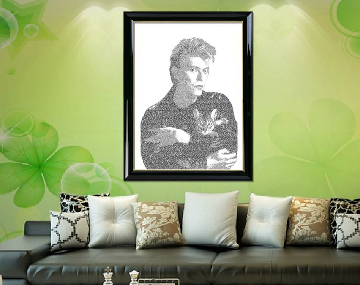 """David Bowie Typographic Portrait Art of """"David Bowie with cat"""" Typographic Art Home Decor Printable Instant Download by DigitalPrintStore on Etsy #printable #gifts#vintage #retro #art#printable #portrait#digital #portrait #walldecor #homedecor#digitalprint #typographicart#davidbowie#typographywallart#typographyprint#typographyposter#typographyportrait#printablewallart"""