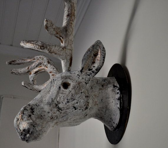 Reindeer head faux taxidermy wall art faux taxidermy taxidermy and reindeer - Fake stuffed moose head ...