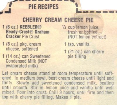 YUMMMM cream cheese pie! My grandma always makes it but without the cherries