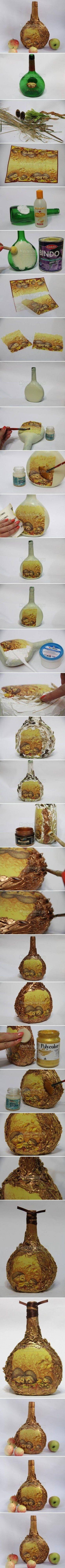 DIY Autumn Bottle Decoupage DIY Projects