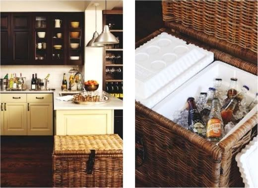 Put a styrofoam cooler inside of an IKEA wicker chest. | 42 Ingeniously Easy Ways To Hide The Ugly Stuff In Your Home