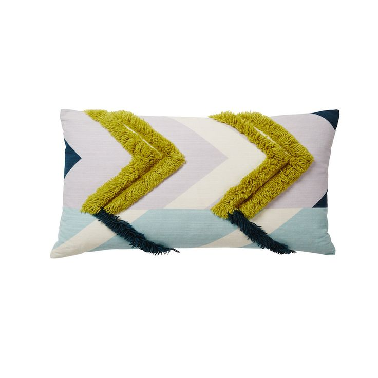 A textural cushion in a retro-inspired design. Our latest Atlas Collection sees a renewed approach to the key retro trends we saw in the seventies. Our Kirra Tufted Cushion has been screen printed by hand in a bold, chevron print that is reminiscent of the tile motifs seen throughout traditional Moroccan riads. Long pile wool in signature seasonal shades of chartreuse and dark teal references our love of all things shaggy and punctuates the cushion with flokati inspired texture. This…