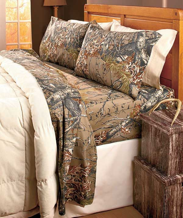 The Woods© Sheet Set camouflages your bed in a natural print that resembles hunting camo. Wrinkle-resistant fabric is easy to care for. Cover your bed in a woodsy camo pattern. Set includes: Flat shee