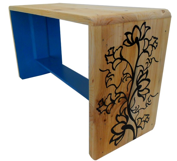 Teal and natural bench with floral design - made from pallet wood! by Jasper & George