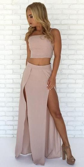 two piece long prom dress maxi dress, straps long pink prom dress with slit, party dress evening dress