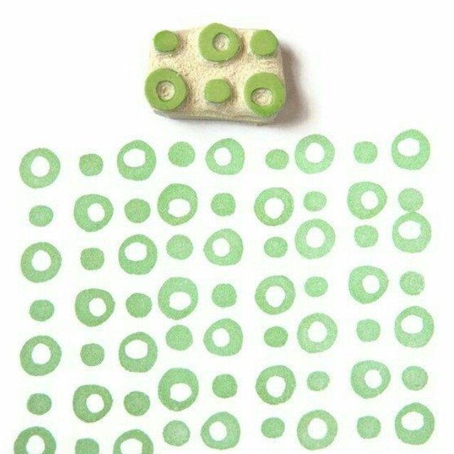 Rubber Stamp Polka Dot Pattern - Hand Drawn Geometric Pattern Stamp