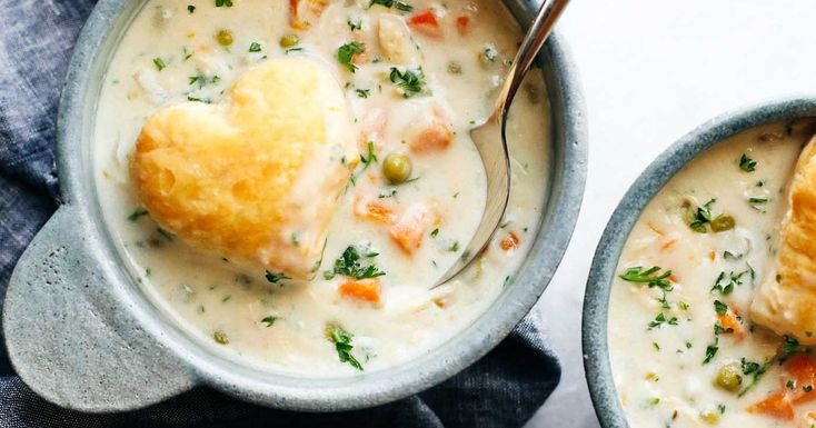 Slow Cooker Chicken Pot Pie Soup with the cutest heart-shaped puff pastries - low maintenance creamy winter comfort food, made from scratch!