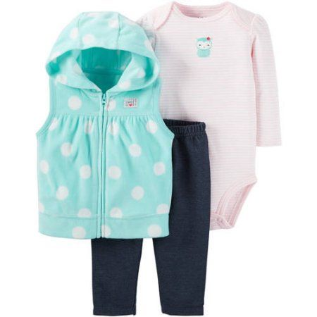 Child of Mine by Carter's Newborn Baby Girl Vest, Bodysuit, and Pants Outfit Set - Walmart.com