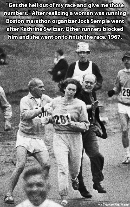 Overcoming Obstacles. Boston Marathon 1967. Way to go Kathrine Switzer and fellow runners. Jock Semple. Feminism. Equality.