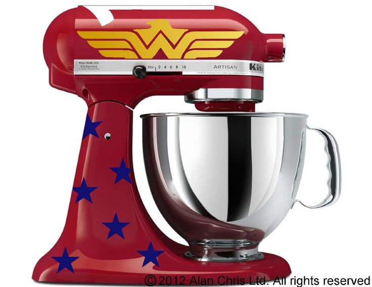 Amazonian Princess Wonder Woman-Inspired Decal Kit (for RED Kitchen Aid Stand Mixer) by C. Pease Design, $15 via Amazon.Com