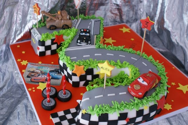CARS CAKE. My son would LOVE this cake!