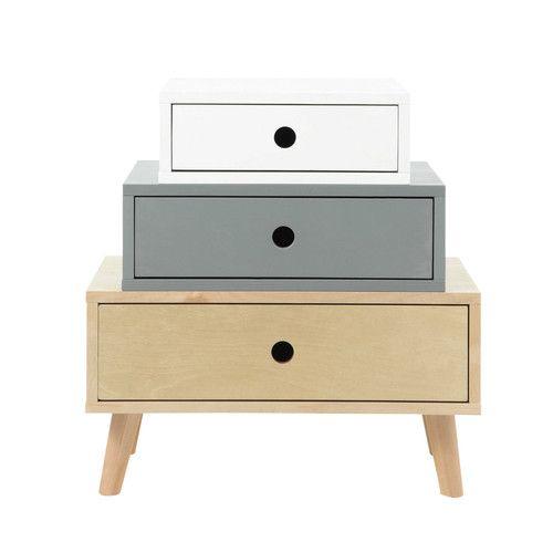 Cabinet de rangement vintage en bois multicolore L 52 cm