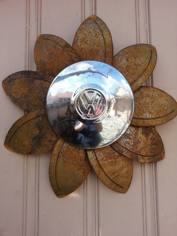 Rusted metal VW hubcap flower wall hanger by MyRustedRoots
