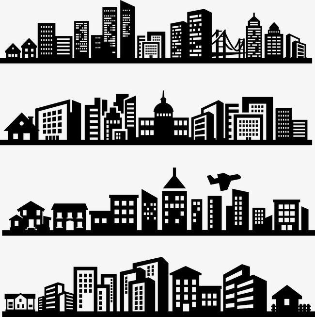 Office Services City Silhouette Clip Art Image
