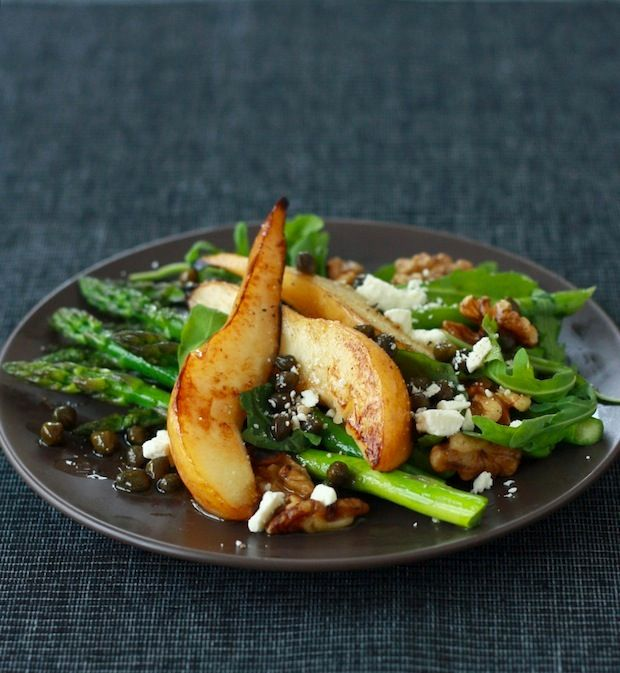 pear asparagus salad and caper | Foodie Things To Try | Pinterest