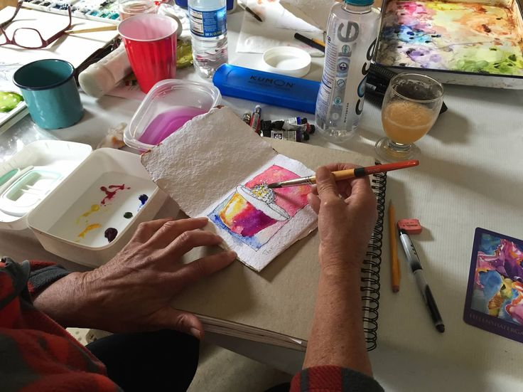 Watercolor and mixed media workshop with Helen Shafer Garcia at Rancho La Bellota May 5-8, 2016. She instructed us on mixed media processes, working in a handmade journal using subtraction and addition of paint and the use of found objects inspired by the ranch environment.