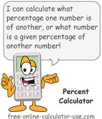 Percent Calculator: This This free online calculator can answer three types of percentage problems. [1] What percentage is one number of another number?  [2] What unknown number is a given percentage of another number?  [3] What unknown number is a given number a given percentage of? Plus, the calculator allows you to choose the decimal rounding, explains how it arrived at the given result, and shows a visual representation of the result in a pie chart.