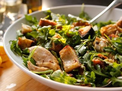 Roast Chicken With Bread and Arugula Salad Recipe | Ina Garten | Food Network