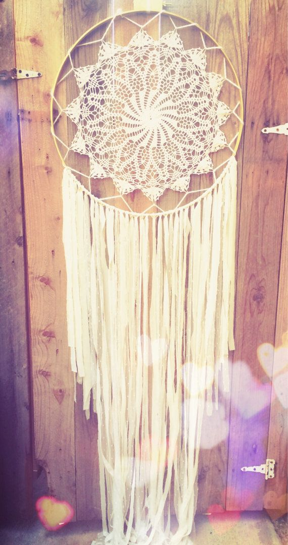 Extra Large White & Gold Crochet Doily Lace Fabric Dreamcatcher by Unicorns4Evaa