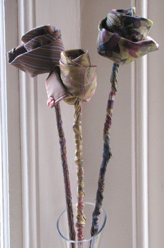 I first made these Silk Tie Roses many years ago but have just started to sell them. I cut black bamboo from the garden, using this for the stem