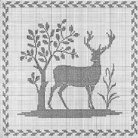 Deer & Tree Cross Stitch Pattern