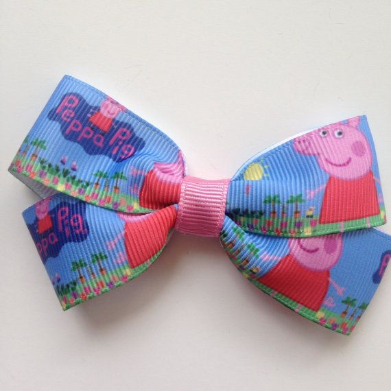 Peppa Pig Hair Bow non slip Clip by OliverandMay on Etsy, $5.00