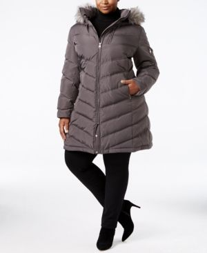 Calvin Klein Plus Size Faux-Fur-Trim Puffer Coat - Silver 3X