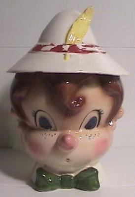 Vintage Cookie Jar RARE Pinocchio Metlox Poppytrail Kitchen 70 Years Old