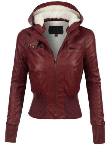 Add a little flare to your outfit with this faux leather zip up moto jacket with hood. It is a favorite for all season and must have for your closet. Pair it with distressed denim for an edgy look. Fe