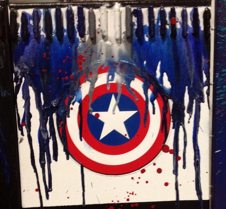 Capatin Shield Crayon Art - Various Sizes by HappyBrainDesign on Etsy