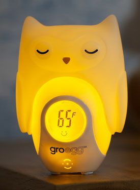 What a neat concept to tell you if room is too hot or cold for baby's sleep and a perfect soft night light so you can see.