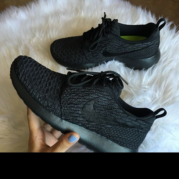 Womens Nike Roshe One Flyknit ID Brand new with box but no lid. Customized with Nike ID- Retails for $160 Tax- All Black Nike Shoes Athletic Shoes