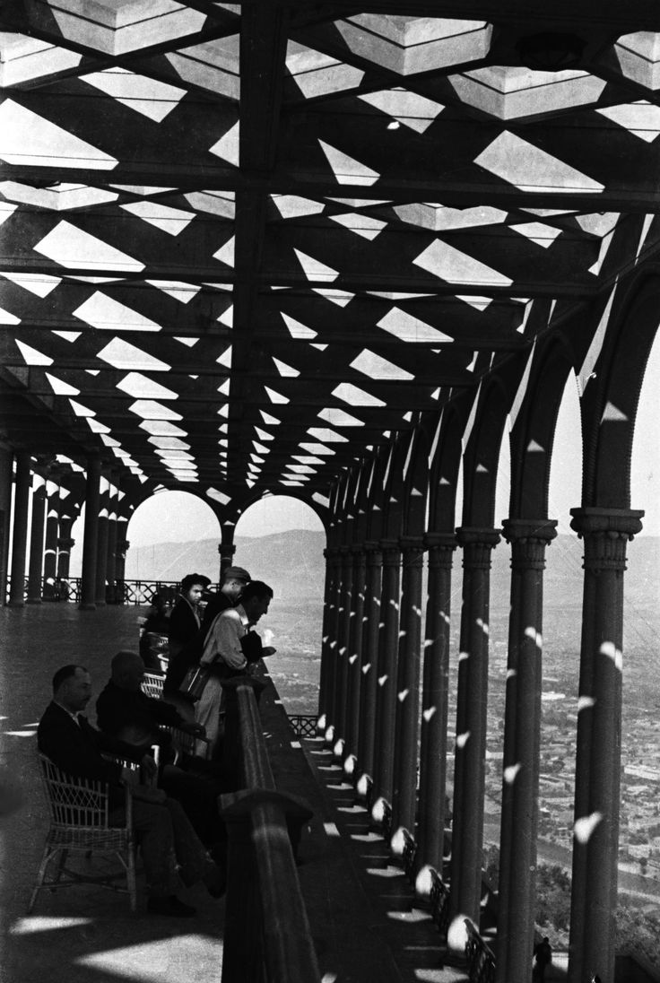 Restaurant veranda on Mount Mtatsminda, 1938. On Holy Mountain are the Church of Saint David Mamadaviti, the necropolis and pantheon of social activists, and the tomb of the writer Alexander Griboedov. Tbilisi, Georgia.