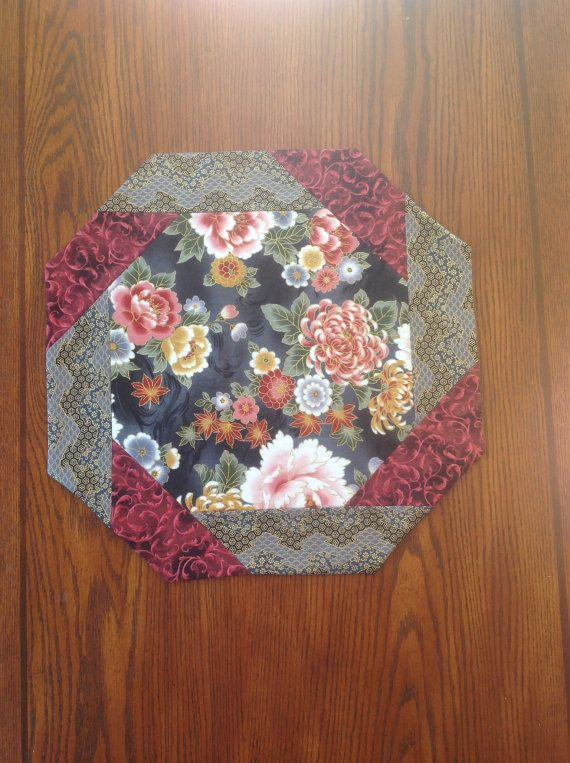 Table Topper Octagonal  Spring Floral Elegant by AlidanCreations