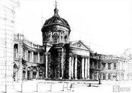 Beautiful palace drawing. Rysunek wielkiego pałacu www.kurs-rysunku.com.pl