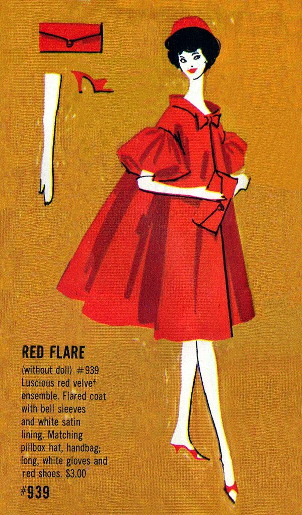 Vintage Barbie Red Flare Pamphlet Illustration. I remember my cousin having the real stockings for her Barbies. Wow.