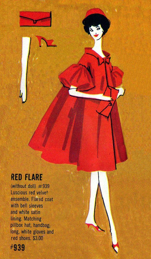 Vintage Barbie Red Flare Pamphlet Illustration